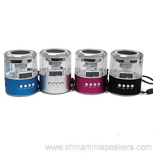 Colorful led mini triangle-shape crystal speakers with USB FM TF 6