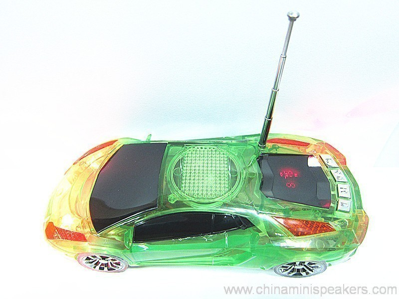 Beautiful Mini Crystal Car Speaker with LED light FM TF card U disk Slot 4