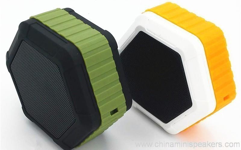 Hexagon shape Small Waterproof Wireless bluetooth speaker With Hook 3